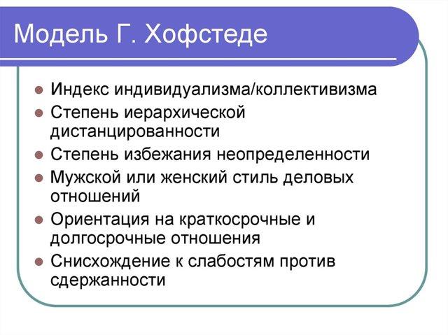 Модель Хофстеда - Справочник студента