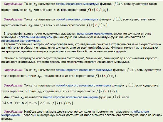 Основные теоремы дифференциального исчисления - Справочник студента